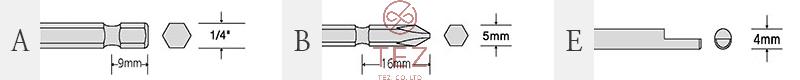 Bản vẽ kích thước mũi vặn vít SEHAN F Series