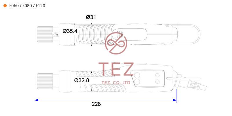Bản vẽ kích thước tô vít điện F Series