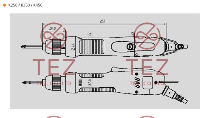 Bản vẽ kích thước tô vít điện K Series