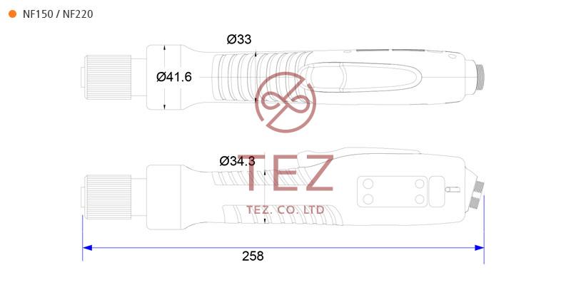 Bản vẽ kích thước tô vít điện NF Series